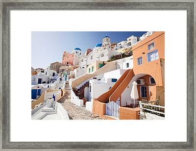 Housing Of Santorini Framed Print by Aiolos Greek Collections