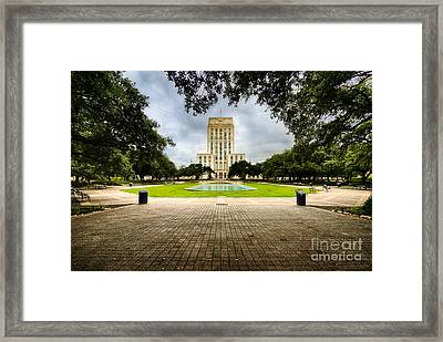 Houston City Hall On A Weekend Morning Framed Print by Dee Zunker