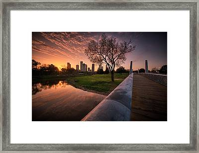 Houston Dawn Framed Print
