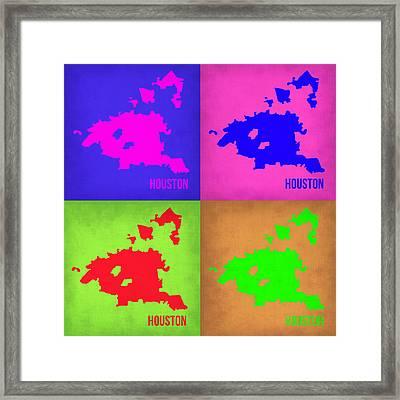 Houston Pop Art Map 1 Framed Print