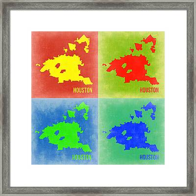Houston Pop Art Map 2 Framed Print