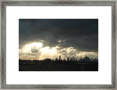 Houston Refinery At Dusk Framed Print by Connie Fox