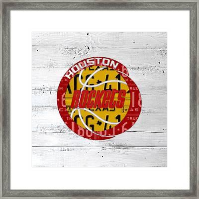 Houston Rockets Basketball Team Retro Logo Vintage Recycled Texas License Plate Art Framed Print