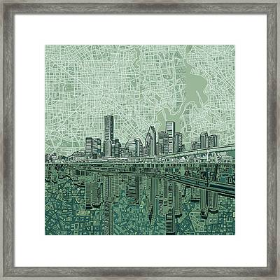 Houston Skyline Abstract 2 Framed Print
