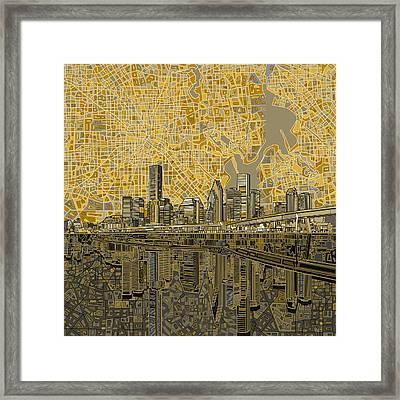 Houston Skyline Abstract 4 Framed Print