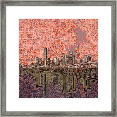 Houston Skyline Abstract 5 Framed Print