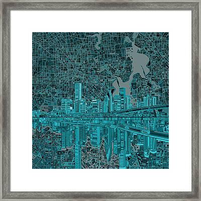 Houston Skyline Abstract 7 Framed Print