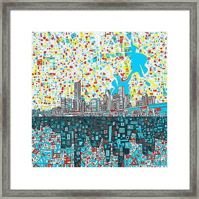 Houston Skyline Abstract 8 Framed Print