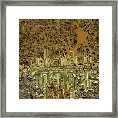 Houston Skyline Abstract Framed Print