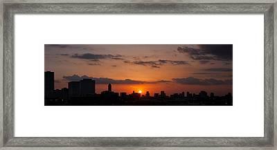 Houston Skyline At Sunset Framed Print