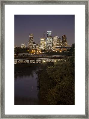 Houston Sunset And Crosswalk Framed Print by John McGraw