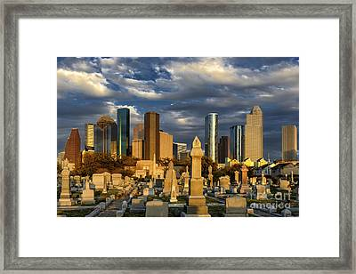 Houston Sunset Skyline Framed Print