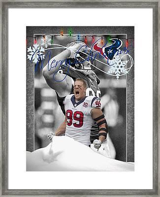 Houston Texans Christmas Card Framed Print by Joe Hamilton