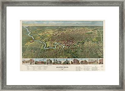 Houston, Texas Looking South 1891 D.w. Ensign & Co Framed Print