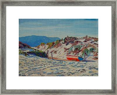 Framed Print featuring the painting Hout Bay Beach With Table Mountain by Thomas Bertram POOLE