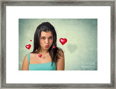 Hovering Hearts Framed Print by Carlos Caetano