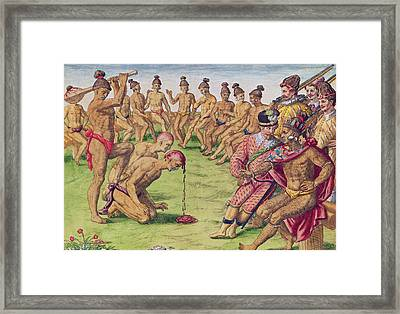 How A Sentry Was Treated For Negligence Framed Print by Jacques Le Moyne