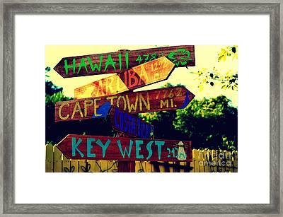 How Far Is It To Key West Framed Print by Susanne Van Hulst