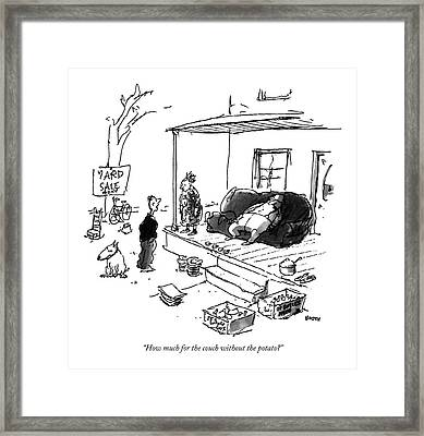 How Much For The Couch Without The Potato? Framed Print by George Booth