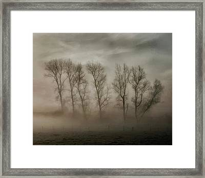 How Nature Hides The Wrinkles Of Her Antiquity Under Morning Fog And Dew Framed Print