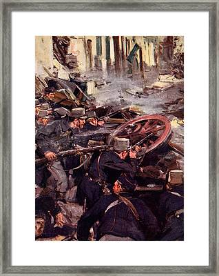 How The Brave Belgians Held Up The German Advance Framed Print by Cyrus Cuneo