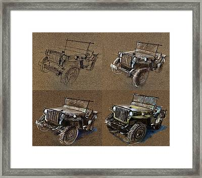 How To Draw A 1943 Willys Jeep Mb Car Framed Print by Daliana Pacuraru