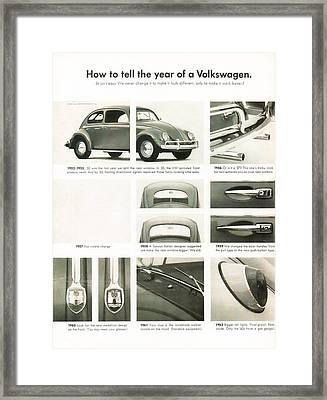 How To Tell The Year Of A Volkswagen Framed Print by Georgia Fowler