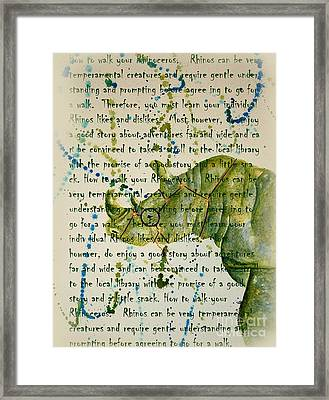 How To Walk Your Rhino Framed Print by Tamyra Crossley
