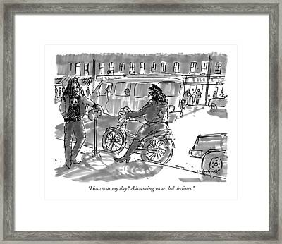 How Was My Day? Advancing Issues Led Declines Framed Print by Michael Crawford