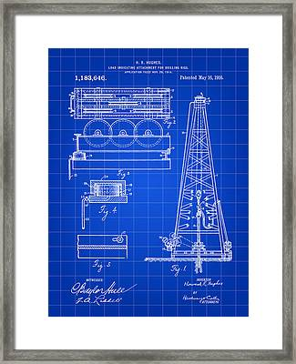 Howard Hughes Drilling Rig Patent 1914 - Blue Framed Print