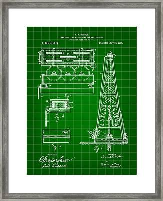 Howard Hughes Drilling Rig Patent 1914 - Green Framed Print
