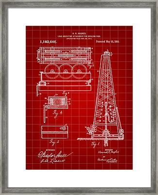 Howard Hughes Drilling Rig Patent 1914 - Red Framed Print