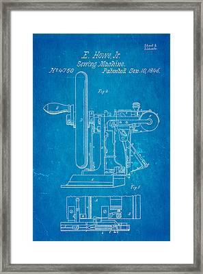 Howe Sewing Machine Patent Art 1846 Blueprint Framed Print
