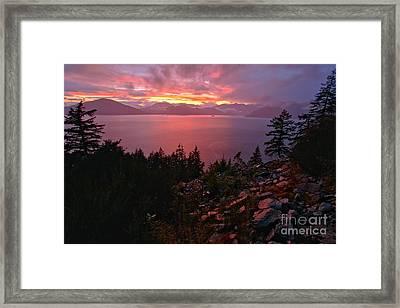 Howe Sound Fiery Sunset Reflections Framed Print