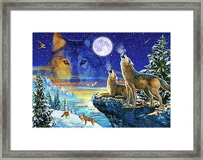 Howling Wolves Framed Print by Adrian Chesterman