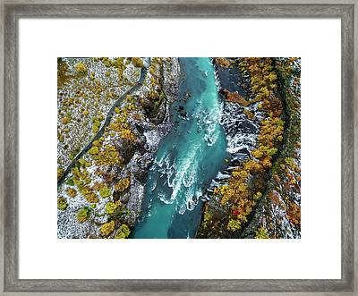 Hraunfossar, Waterfall, Iceland Framed Print by Arctic-images