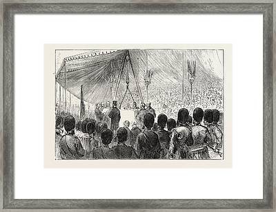 H.r.h. The Duke Of Edinburgh Laying The Foundation Stone Framed Print by English School