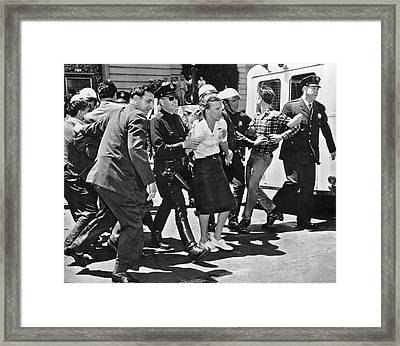 Huac Protesters Arrested In Sf Framed Print by Underwood Archives