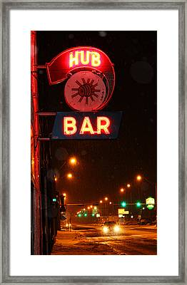 Hub Bar Snowy Night Framed Print by Sylvia Thornton