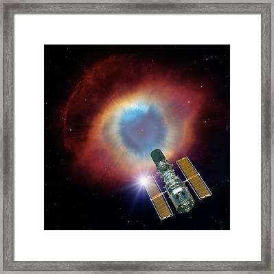 Hubble And Helix Nebula Framed Print by Nasa,wiyn,noao,esa,hubble Helix Nebula Team,m. Meixner (stsci), & T. A. Rector (nrao)/detlev Van Ravenswaay