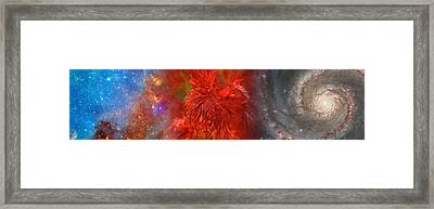 Hubble Galaxy With Red Maple Foliage Framed Print by Panoramic Images