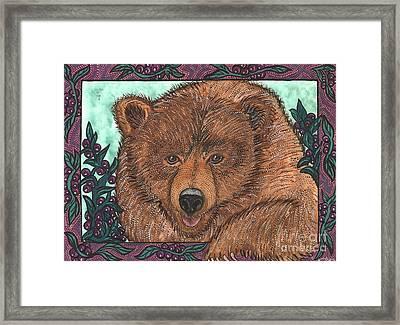 Huckleberry Bear Framed Print by Melissa Cole