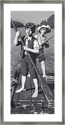 Huckleberry Finn And Tom Sawyer  Framed Print by English School