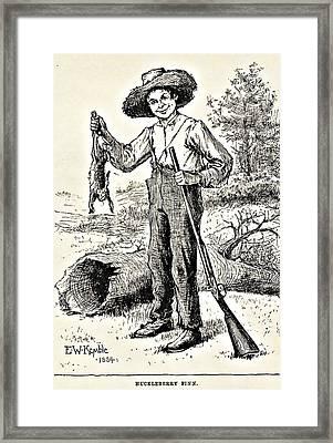 Huckleberry Finn Illustration Drawing Print Framed Print