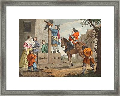 Hudibras Leading Crowdero In Triumph Framed Print by William Hogarth