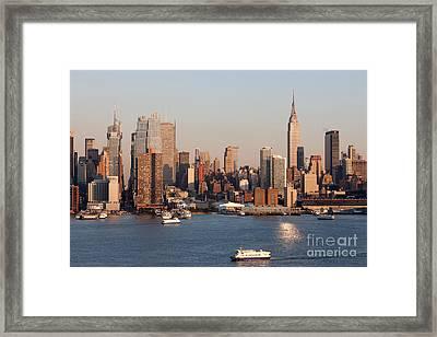 Hudson River And Manhattan Skyline I Framed Print by Clarence Holmes