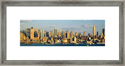 Hudson River, City Skyline, Nyc, New Framed Print by Panoramic Images