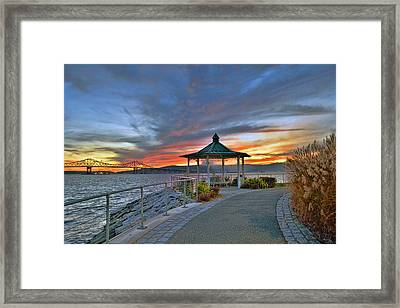 Hudson River Fiery Sky Framed Print by Jeffrey Friedkin