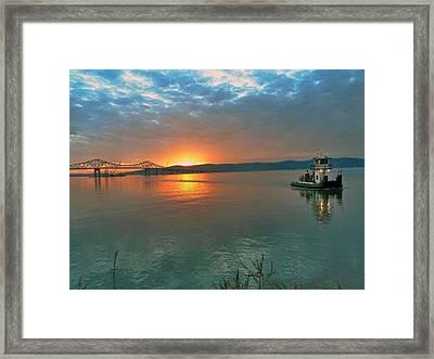 Hudson River Sunset Framed Print