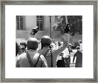 Huey Newton Rally In Sf Framed Print by Underwood Archives Thornton